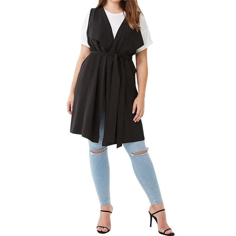 Autunno Plus Size Lady maglie di modo allentato solido di colore tunica senza maniche 3XL-7XL Overweight Woman lunghi casuali Gilet Outwear