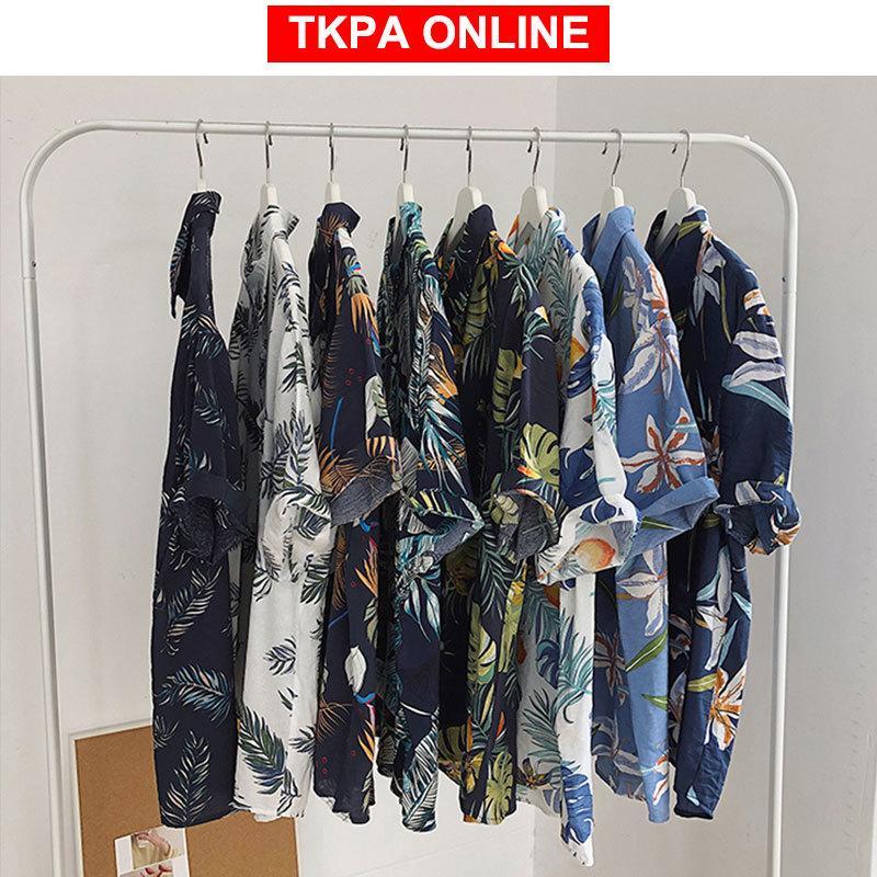 Men Hawaii Short Sleeve Shirts 2020 Summer Man Korean Fashion Shirt Male Hip Hop Harajuku Thin Casual Floral Shirts INS