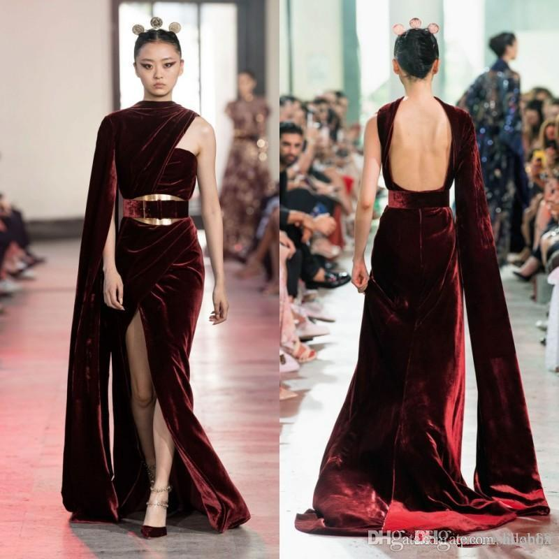 Elie Saab economico velluto bordeaux Prom Dresses Aprire Backless Dubai arabo caftano High Side Split abiti da ballo formale abito ogstuff Vestidos