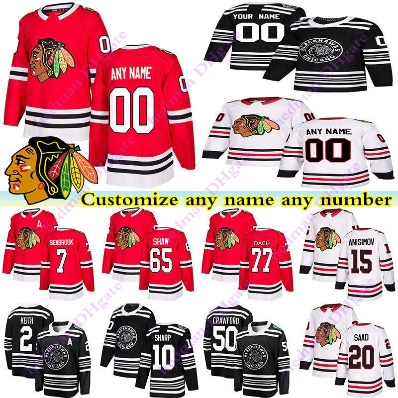 Chicago Blackhawks 77 DACH 2 KEITH 7 SEABROOK 20 SAAD 50 CRAWFORD 65 SHAW Personnaliser un nombre tout maillot de hockey nom