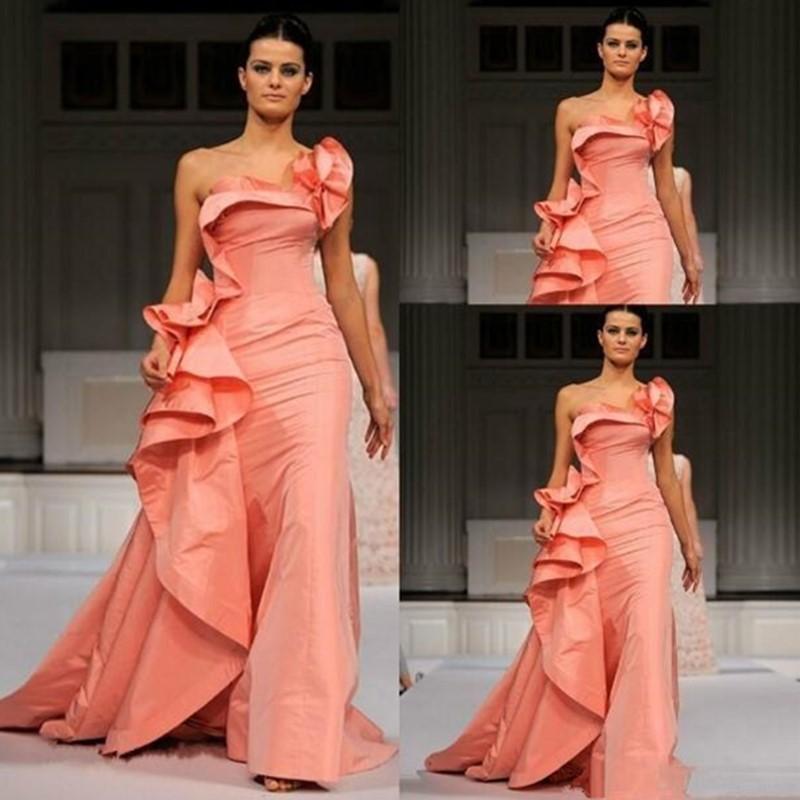 2020 sirène robes de soirée Elie Saab une épaule longueur de plancher long Taille Plus Special Occasion Dress Celebrity Prom Party Robes