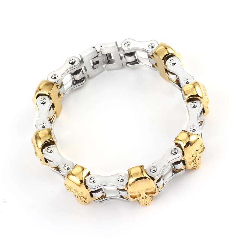 Cadeias de moda prata 316 pulseira de aço inoxidável crânio de ouro Bangles Biker bicicleta Fazer a ligação pulseira para Jóias das mulheres dos homens
