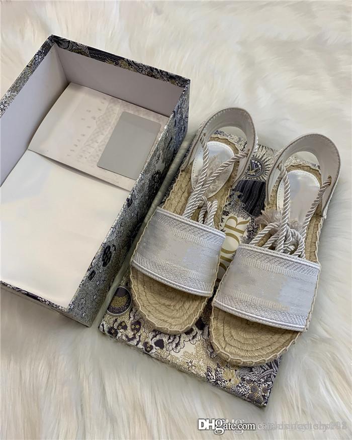 Ранняя весна 2020 жаккардовые вышитые сандалии Женские стильные дышащие и удобные соломенные рыбацкие сандалии с оригинальной обувной коробкой