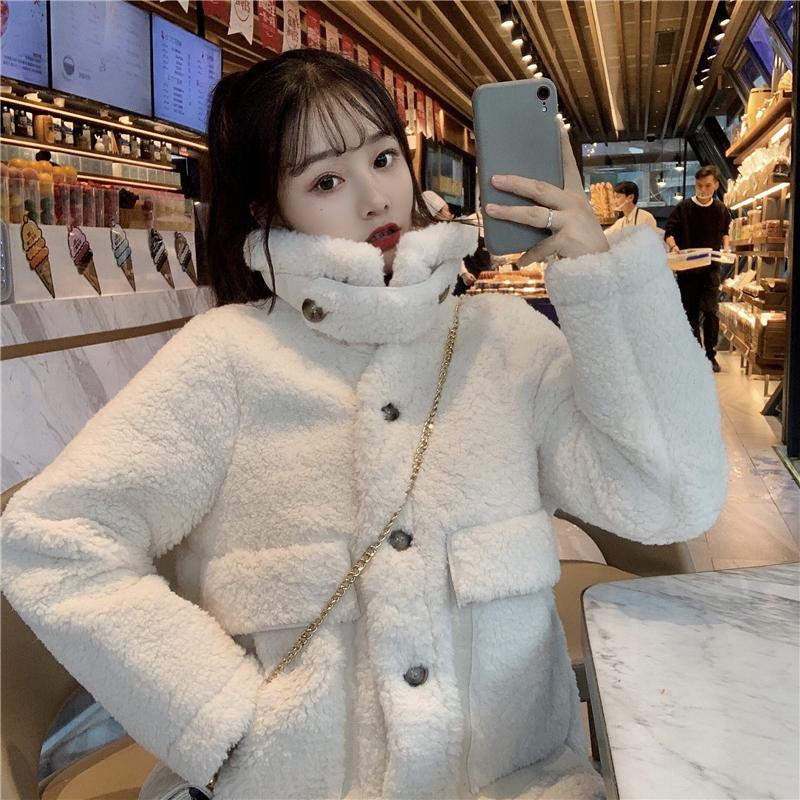 2019 d'hiver Nouvelle arrivée femmes veste à manches longues femme col Réchauffez vêtement mode Casual Streetwear solide Pardessus