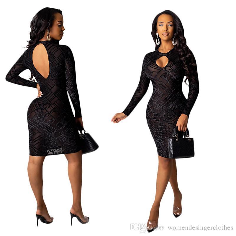 Weisefrauenentwerfers Kleid Sexy Hallow Out Perspektive Backless lange Hülse Bodycon Kleider Frauen Frauen Kleider