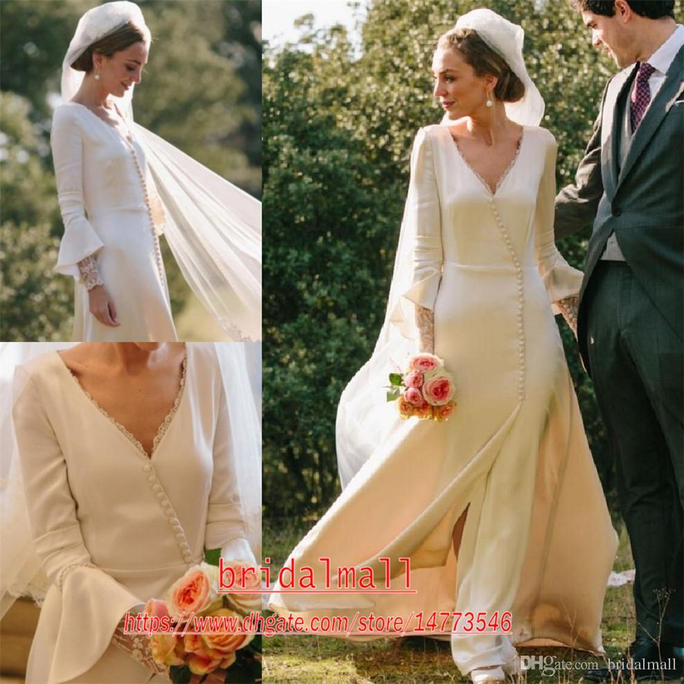 Ivory suave cetim mangas compridas vestidos de casamento simples 2.020 V Elegante Neck Bohemian praia vestidos de noiva A Linha de Trem da varredura Jardim vestido de noiva