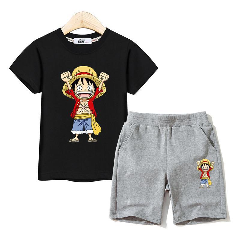 Little boy estate abiti Rufy tees + bicchierini del cotone 2 pz set Bambini Costumi Del Fumetto di un pezzo re Vestiti Dei Ragazzi di Modo Vestiti T200414
