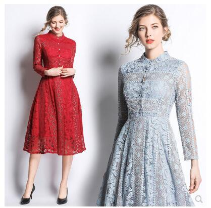 2020 new design women's stand collar single breasted long sleeve lace embroidery floral high waist midi long dress vestidos