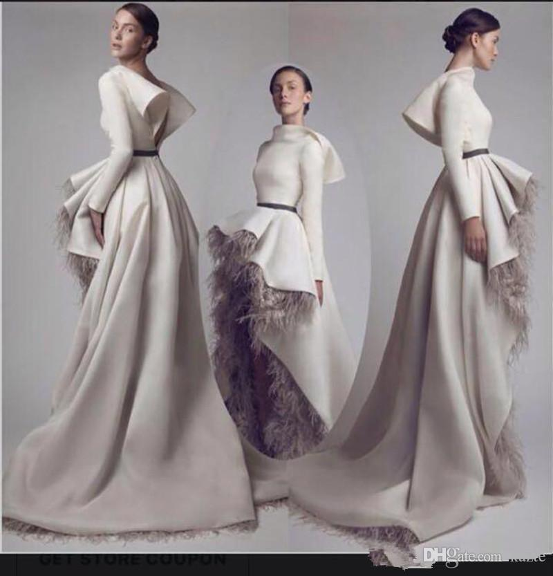 Ashi Studio Charming High Front Low Back Long Sleeve Prom Dresses High Neck Feather Satin A-Line Custom Made Formal Evening Dress