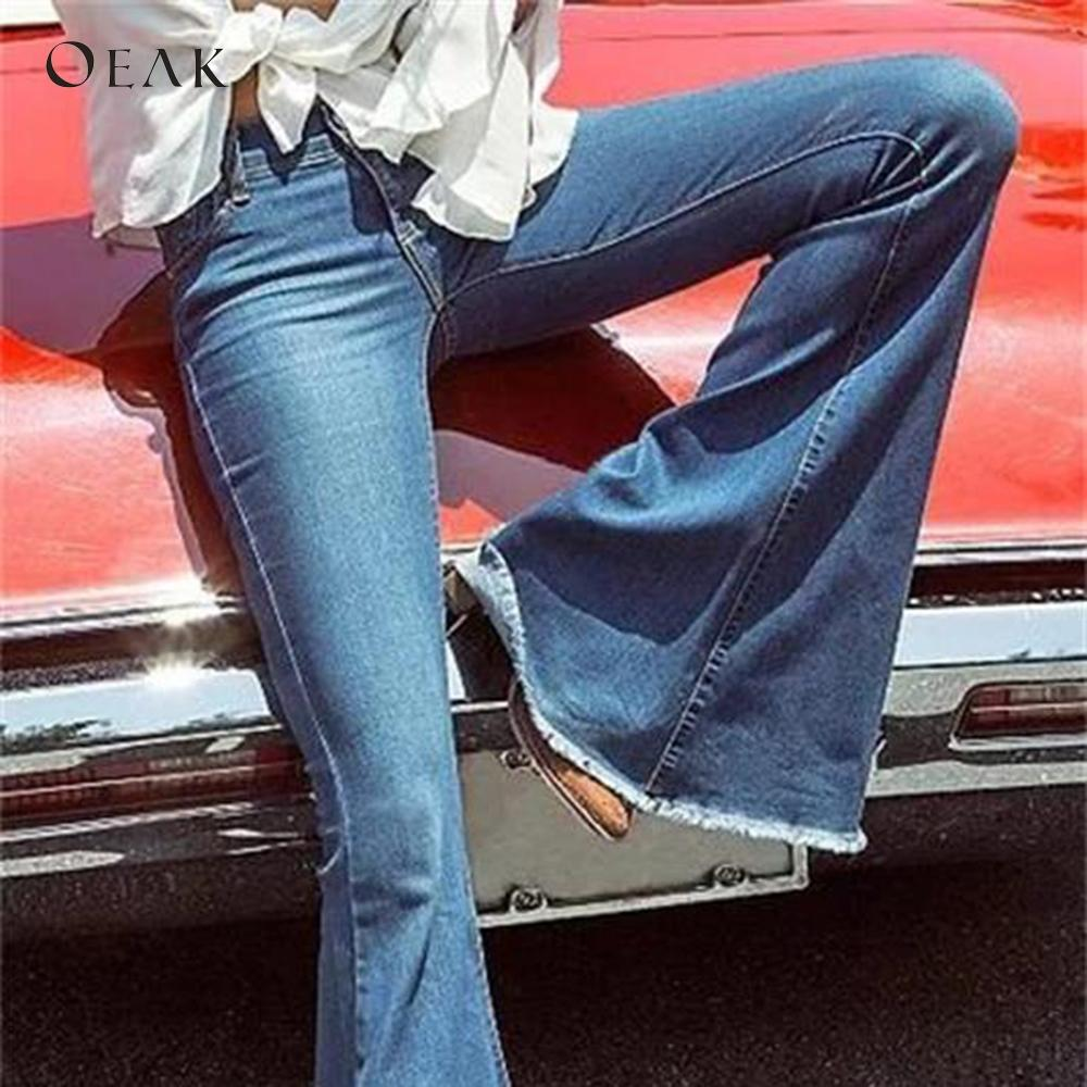Oeak 4XL Big Size Skinny Jeans Casual High Waist Pencil Pants Slim Women's Denim Trousers Wide Leg vaqueros mujer