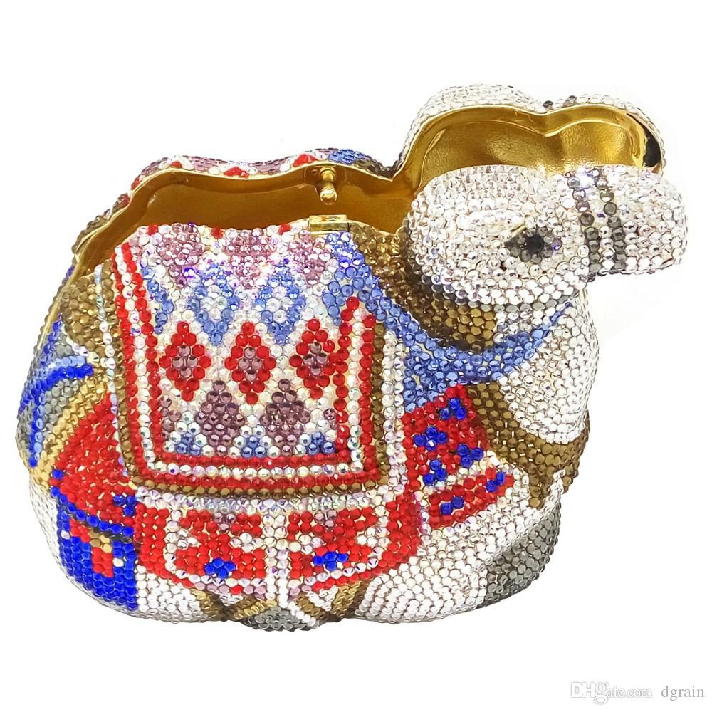 Dgrain berühmten Marken-Frauen Kristall Kamel-Abend-Beutel-Brauthochzeitsfest-Abschlussball-Handtaschen Portemonnaie Metall Mini Box Minaudiere Clutch-Bag Purse