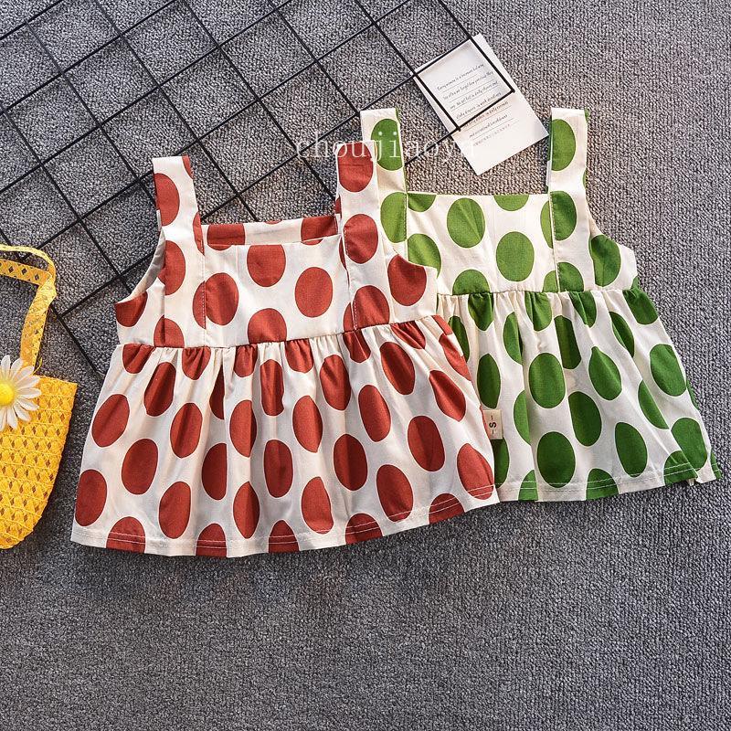 فساتين الطفل للبنات صيف أطفال القطن دوت طباعة الملابس ألبسة للأطفال ملابس فتاة فضفاض طفل مجموعة تنورة اللباس أكمام البنات