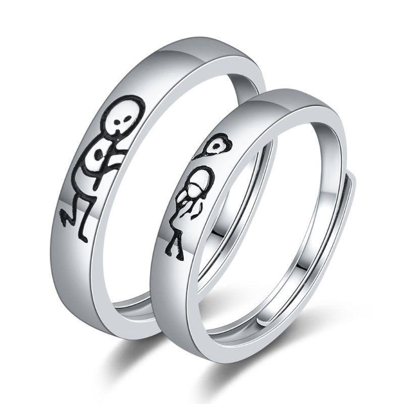 2PCS الحب بالون عود الثقاب الشكل زوجين فرق الخواتم ووعد الزفاف العشاق