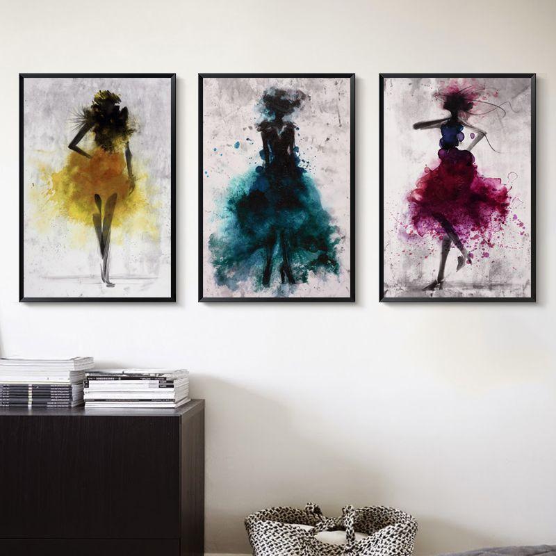 Elegante Poesia Danza Skirt Girl acquerello astratto della tela di canapa di arte della pittura di poster Decorazione Quadro decorazione domestica moderna
