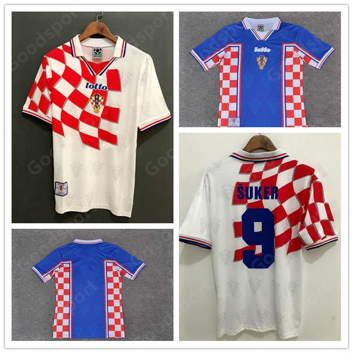 Ретро 1998 SUKER Home Away Retro Classic Jersey Custom Football Football Manuf Ause Suker Лучшее качество Футбольная одежда Calcio World Cup
