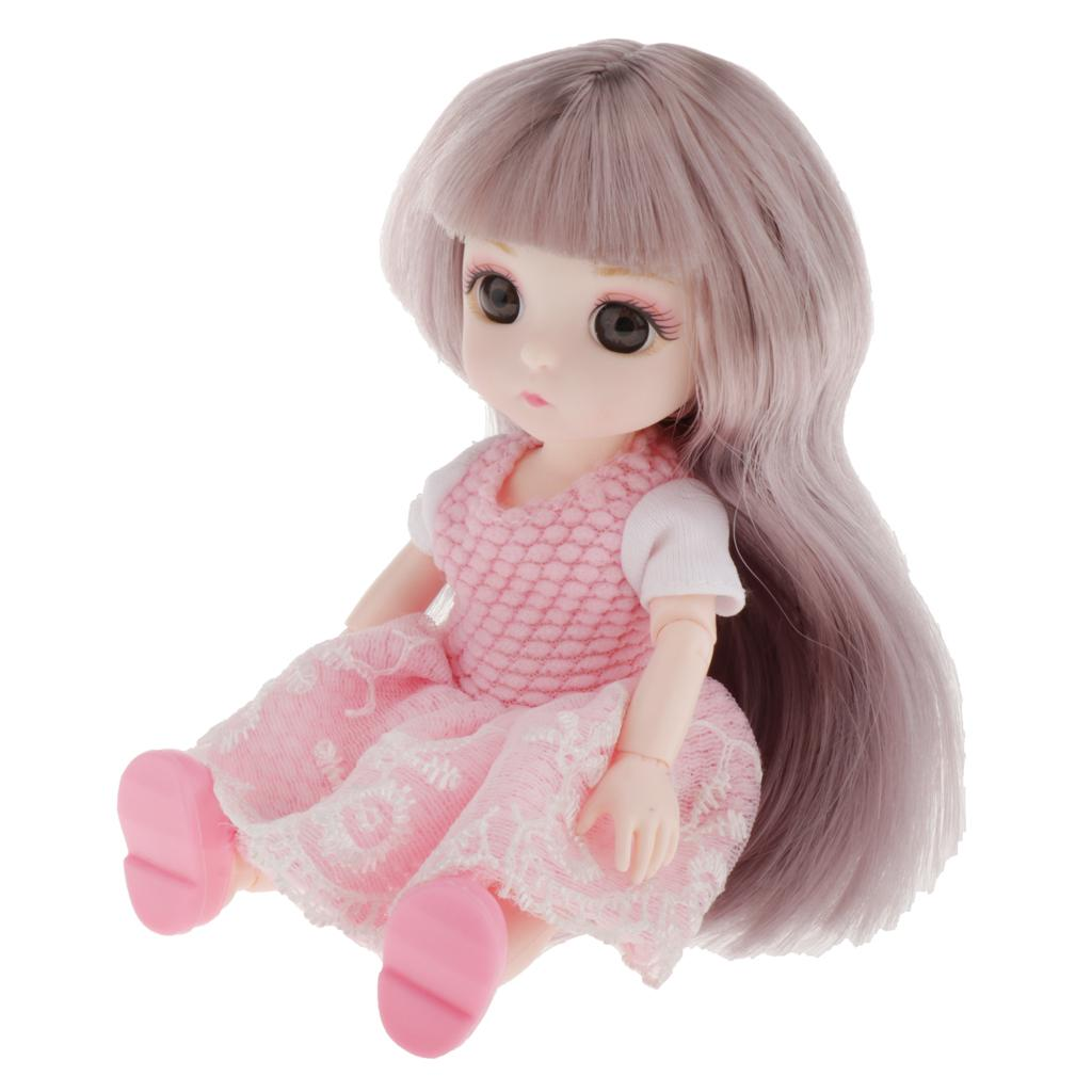 16cm BJD Doll w// Hair Shoes 13 Ball Jointed Dolls DIY Dress Accessory Gifts A
