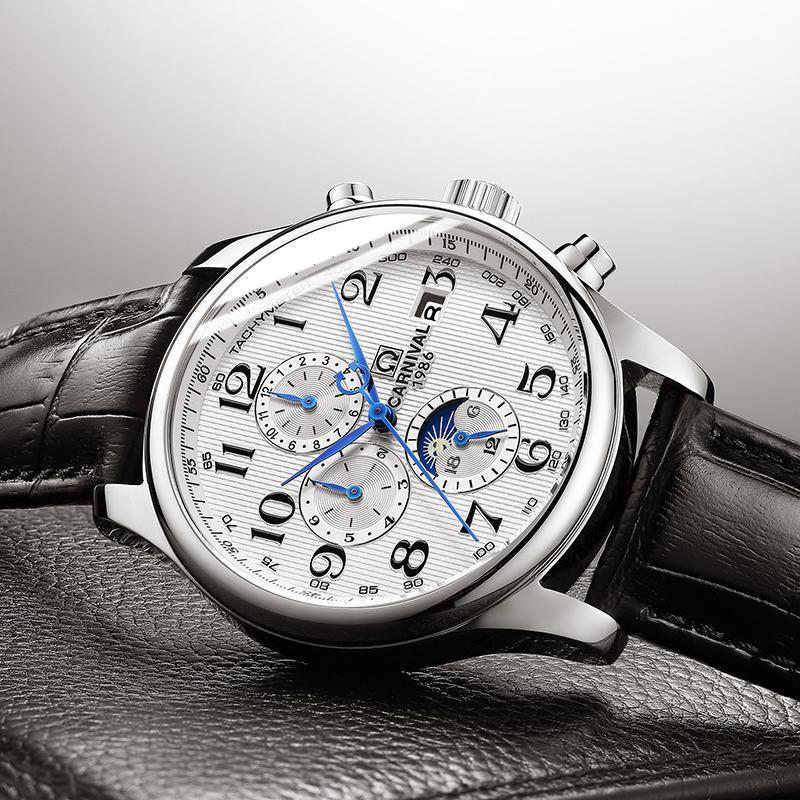 Carnival Blue Hand Multifunción Automático Reloj Mecánico Hombres Reloj de Lujo Topbrand Estuche de Acero Inoxidable Sport Relogio Y19051703