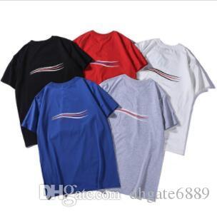 18SS Hommes Femmes Summer Street T-shirt Fashion Europe Amérique Designer Logo Imprimer manches courtes respirant Casual Couleur unie T