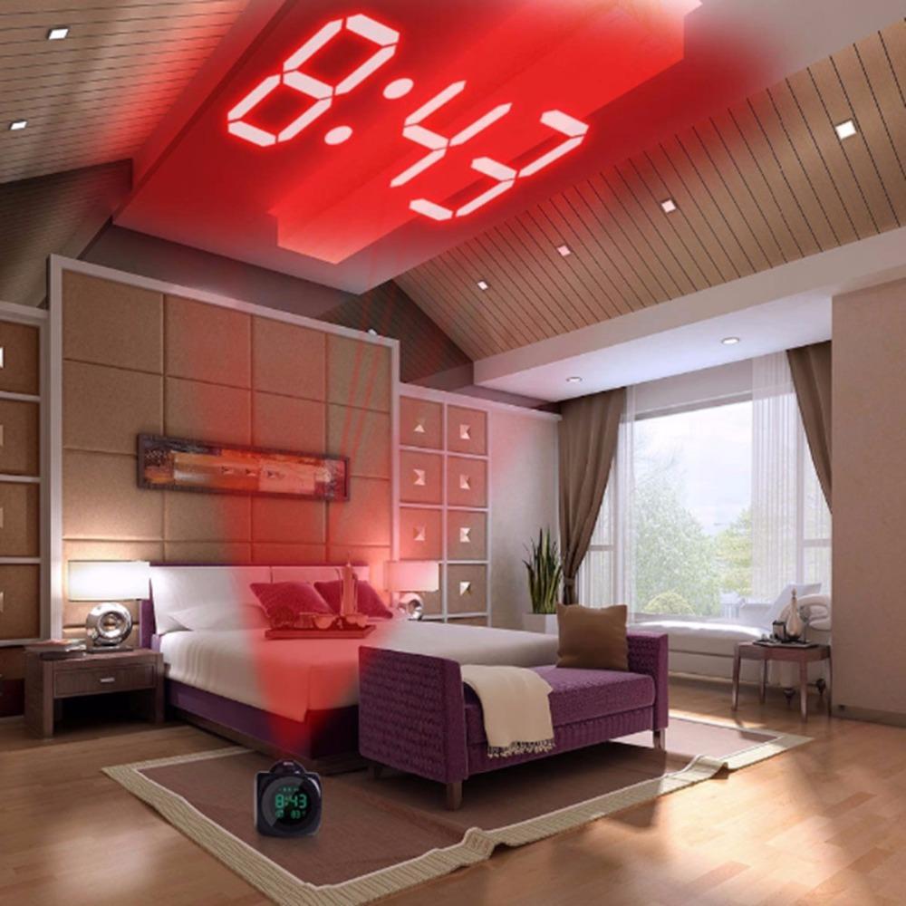 XNCH LCD Projection LED Display Time Sveglia digitale Talking Voice Prompt Termometro Funzione Snooze Desk