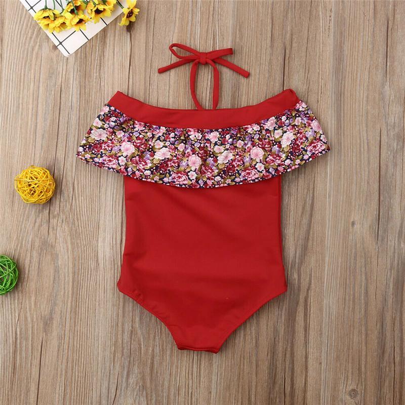 Estate della neonata Flower Bikini bambino Bambino Bambina Costumi da bagno per 2-7Y un pezzo del costume da bagno del vestito increspature bambini Beachwear
