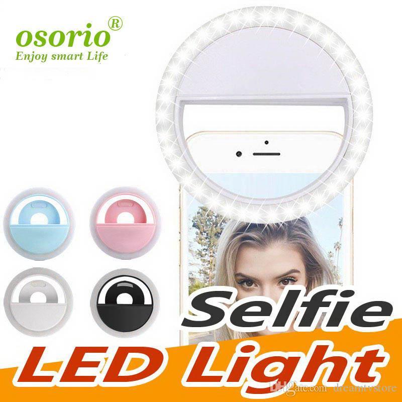 Rechargeable selfie anneau lumineux Luminosité réglable Portable LED avec batterie Amélioration Photographie efficace des quatre couleurs avec la boîte au détail