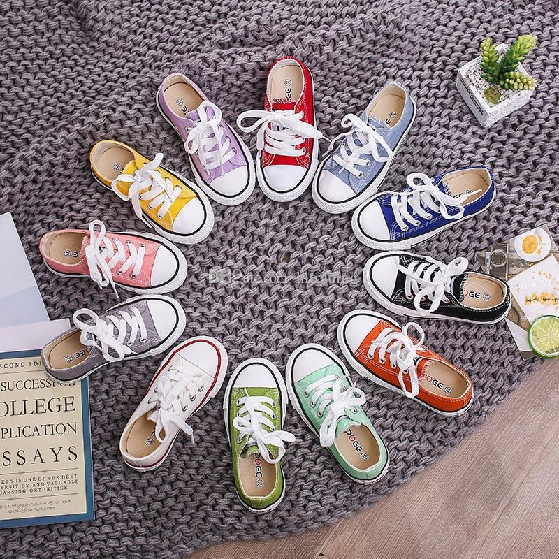 أحذية الأطفال الطفل قماش أحذية رياضية تنفس أوقات الفراغ مصمم أحذية الأطفال الفتيان الفتيات المنخفضة أعلى أحذية 13 ألوان M311