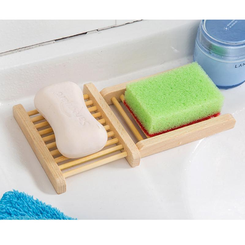 Jabón natural de madera plato de madera sostenedor de la bandeja de jabón Jabón de almacenamiento creativa portaplatos envase de la caja para el baño Suministros ducha baño DBC BH2964