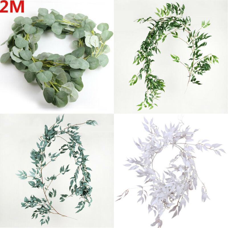 Falso Artificial Eucalyptus Garland Folha Longo Plantas Verdura Folhagem Willow folhas verdes Planta Home Decor flor de seda