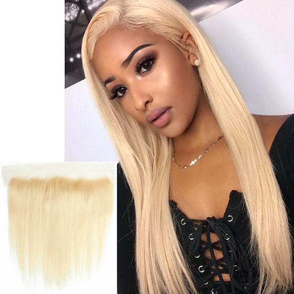 Angelawigs блондинка 13x4 кружева frontals 613 цвет человеческих волос Девы прямо кружева фронтальная закрытие естественный Волосяный покров предварительно ощипывают для женщин