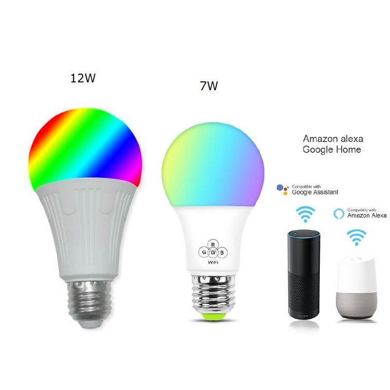7W / 12W LED الذكية ضوء لمبة الهاتف الذكي مراقبة التطبيقات عكس الضوء RGB واي فاي ضوء لمبة الأشغال مع سيطرة Google الرئيسية اليكسا صوت