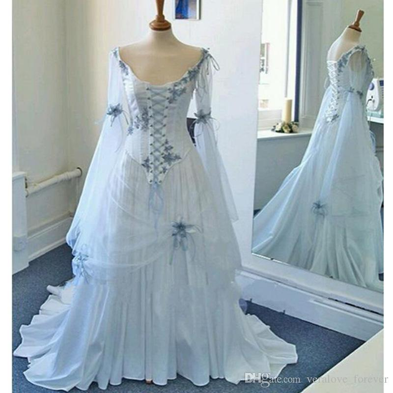 Discount Vintage Celtic Wedding Dresses White And Pale Blue