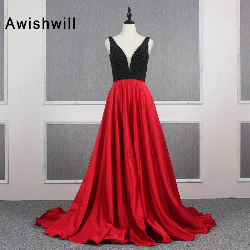 Nuovo vestito da sera lungo Backless sexy del doppio V del collo di raso nero e rosso Una linea donne' vestiti convenzionali Formato più