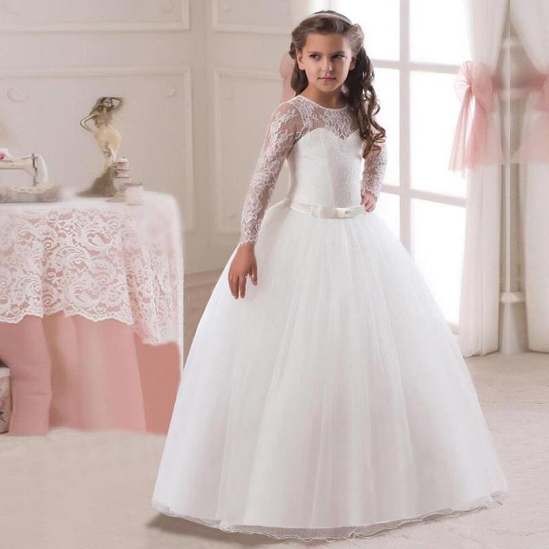5-14y Çocuklar Kızlar Uzun Beyaz Dantel Çiçek Parti Balo gelinlik Modelleri Çocuk Kız Prenses Düğün Çocuk İlk Communion Elbise Y19061303