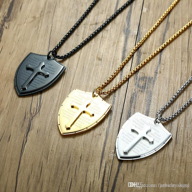 Mixed order top quality 316L stainless steel necklace shield christian cross bible necklaces pendant with chain jewellery supplier 1091