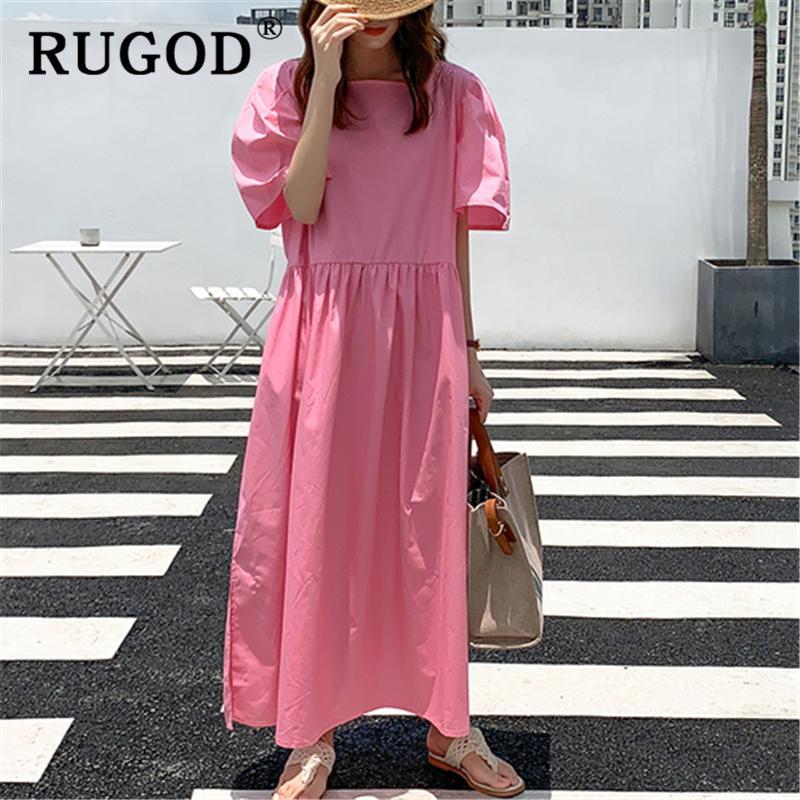 RUGOD coreana ins sólida forma el vestido del verano flojo de espalda damas de pecho solo vestido de collor dividida T200623 Casual vestido maxi cuadrado