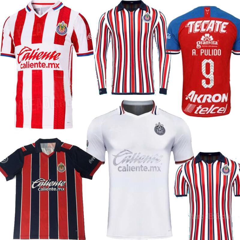 S-2XL Mexico Club Chivas de Guadalajara الصفحة الرئيسية 3RD White Club Whoon World طويلة الأكمام A.Pulido Lopez Football Shirts Soccer Jerseys 2020