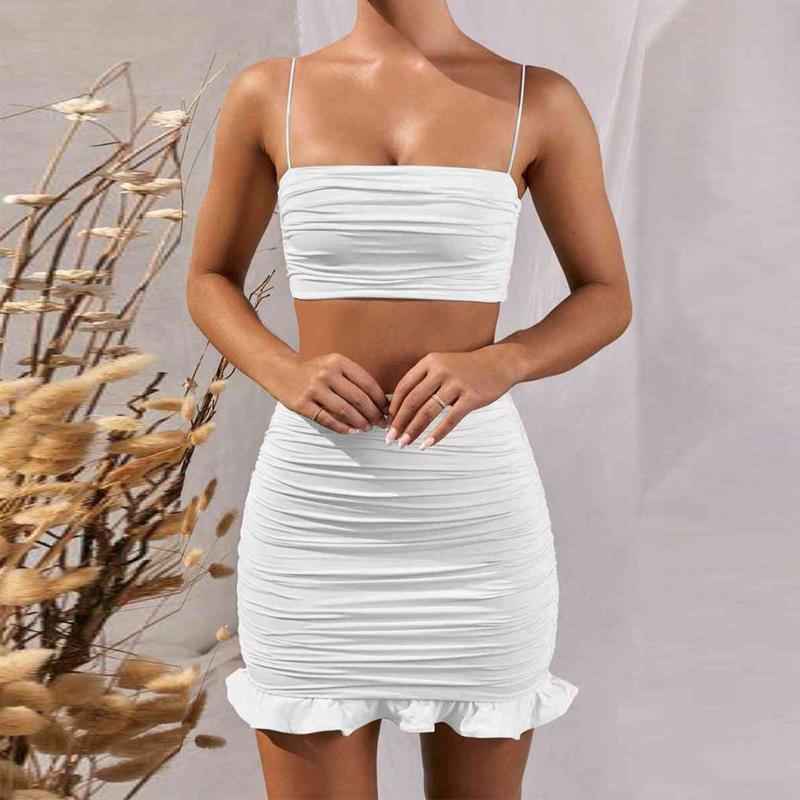 Verano de 2020 mujeres conjunto del tirante de espagueti de cultivos top blanco atractivo del partido mini falda de volantes bodycon y conjuntos de piezas con traje Club de Dos