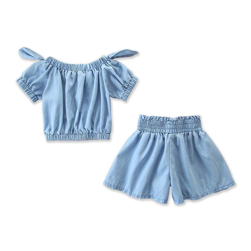 Filles Denim Ensembles Bébé Denim Doux De L'épaule Arc Tops + Pantalon Large Jambes Pantalons Ensemble 2019 Enfants D'été Designer Vêtements Outfit