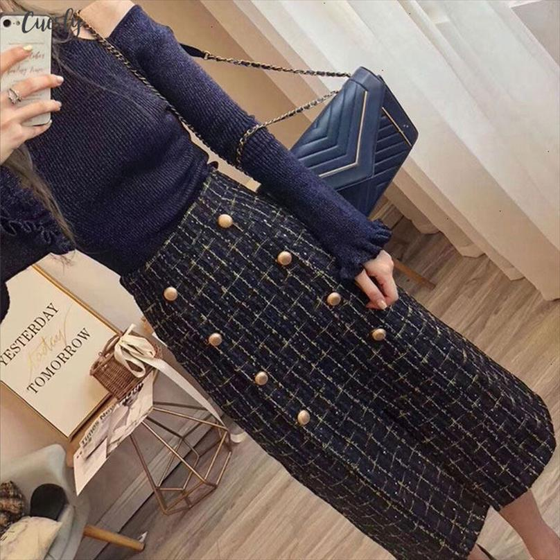 2020 Designer Flare Sleeve Knit Sweater 2020 Autumn Winter Elegant Women Double Breasted Tweed Two Piece Skirt Set From Kiki005, $37.68 | DHgate.Com