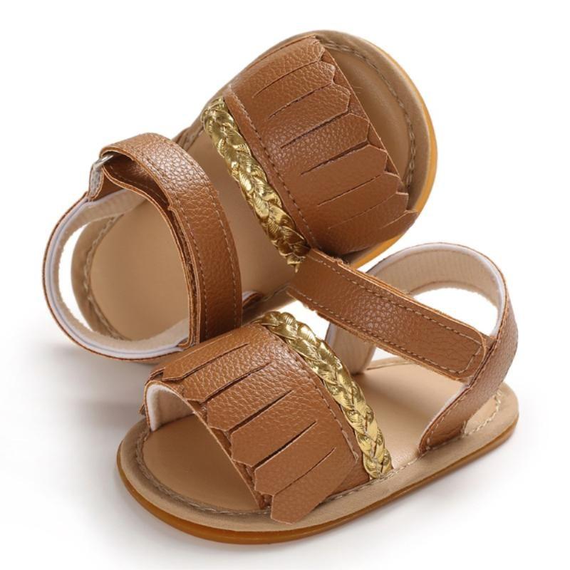 Scarpe Pudcoco estate del bambino infante appena nato dei ragazzi delle neonate Sandali Tassel Solid attesa in morbida pelle Anti Slips scarpe per bambini 0-18Months