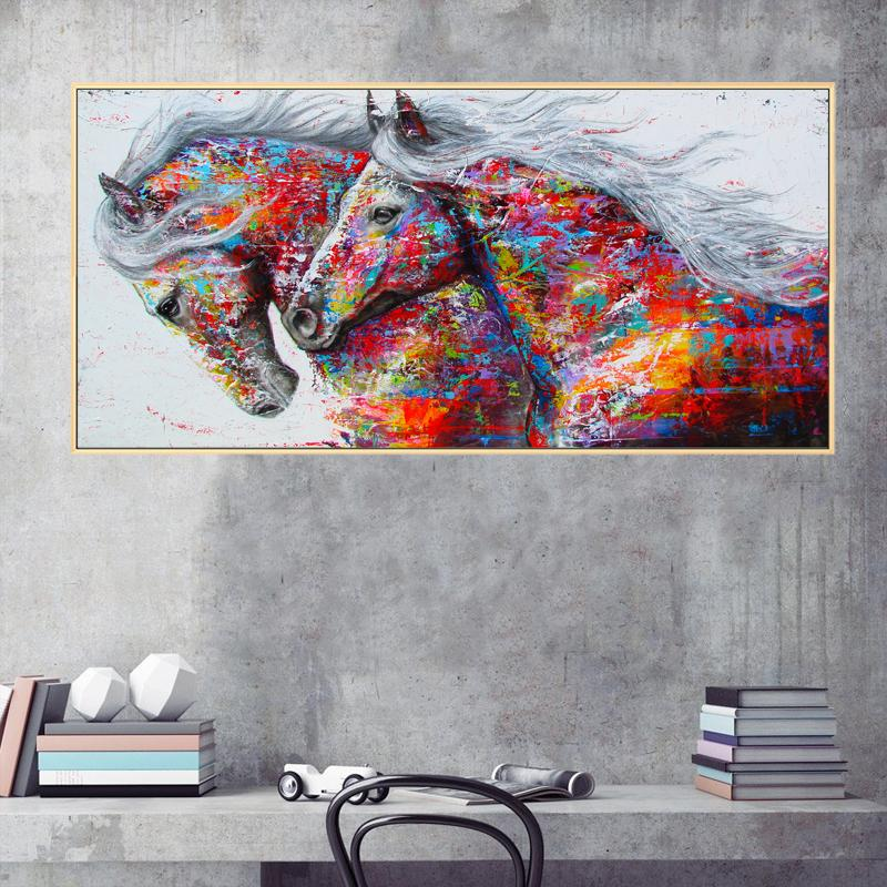 Large Canvas Wall Art Red Horse Oil Painting Print Modern Abstract Animal Wall Art Picture for Home Living Room Wall Decoration