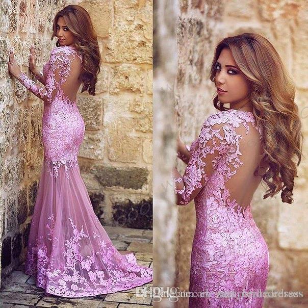 Nueva árabe sexy rosa pura mangas largas de encaje sirena vestidos de baile apliques de encaje de tul visto a través de la espalda vestidos de noche de fiesta formal