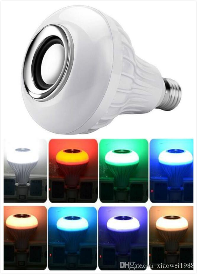 Intelligent E27 12 W lamp bulb LED Bulbo RGB wireless Bluetooth speaker tape with 24 remote control keys adjustable music