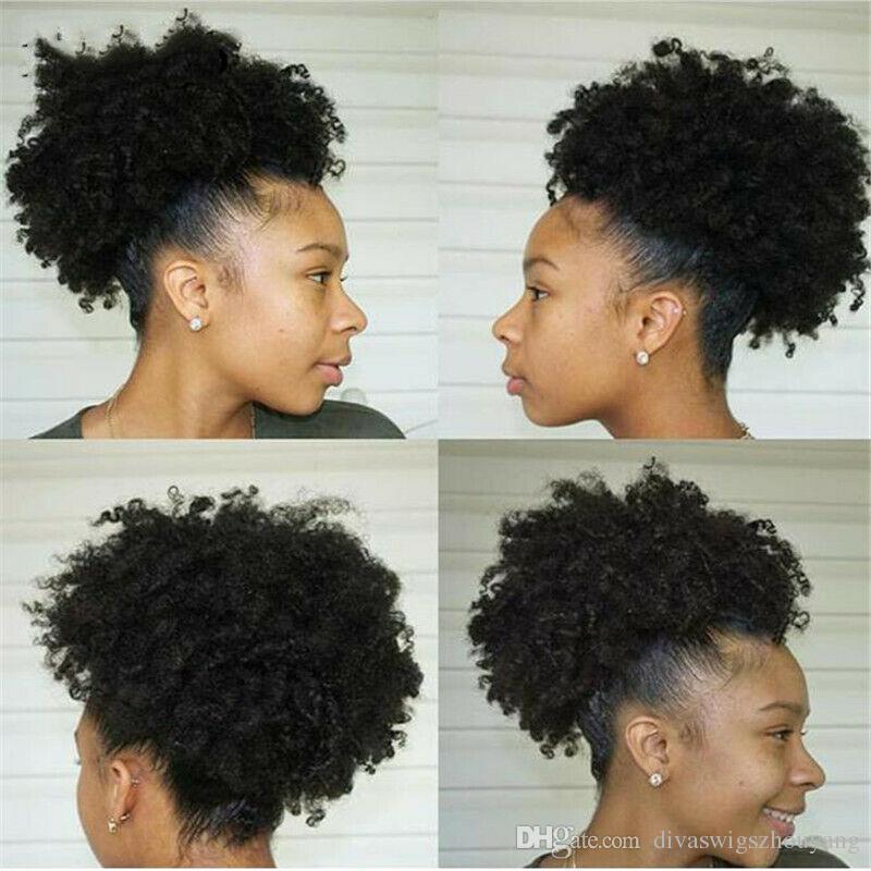 DivawigsYang Mujeres Puff Cordón cola de caballo Afro pelo rizado Moño Updo Chignon como cabello humano 120g moda ponytail extensión