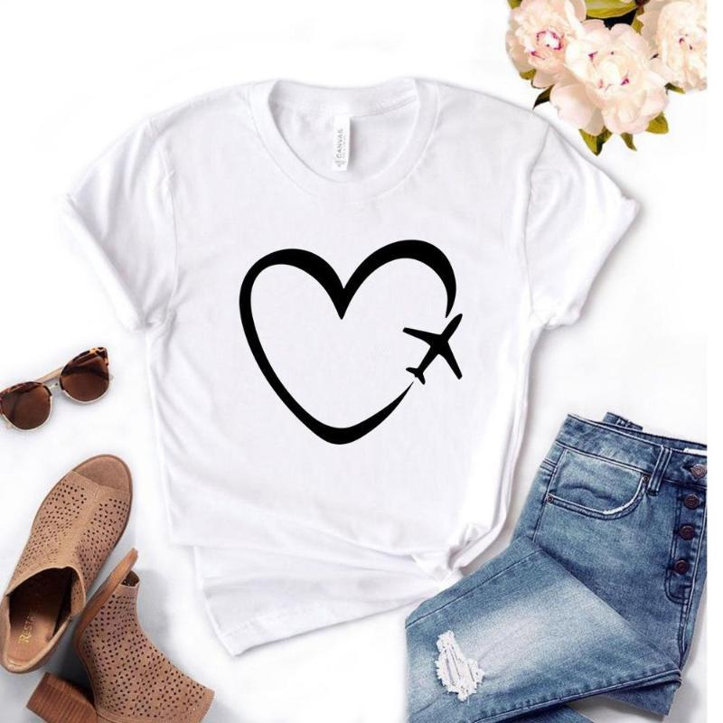 Günlük Komik Tişörtlü Hediye Lady Yong Kız Üst Tee Seyahat Düzlem Kalp Aşk Kadınlar Tişört 6 Renk Baskı