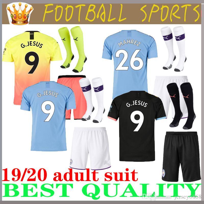 Tuta per adulti 19 20 Manchester JESUS DE BRUYNE KUN AGUERO maglia da calcio per città 2019 2020 maglia da calcio per uomo SANE MAHREZ