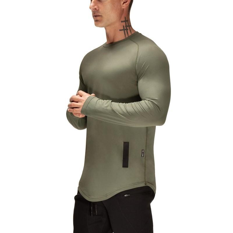 Nueva camisa de manga larga hombres del deporte de secado rápido Sport Top Crossfit sólido camiseta gimnasia de Ejecución de la camisa del entrenamiento Jersey Rashgard Hombres
