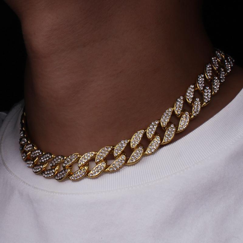 سلاسل مثلج خارج بلينغ حجر الراين الفضة الذهبي إنهاء ميامي الكوبية ربط سلسلة قلادة خفض 15mm الرجال الهيب هوب قلادة مجوهرات 16 18 20 24Inch