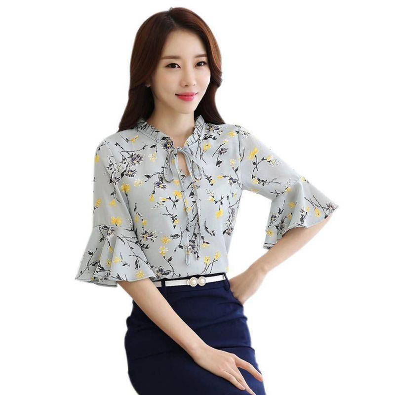 Yaz Kadın Flare Kollu Şifon Bluz Gömlek Moda Çiçek Yazdır Kadın Yarım Bayanlar Kızlar blusas Tops