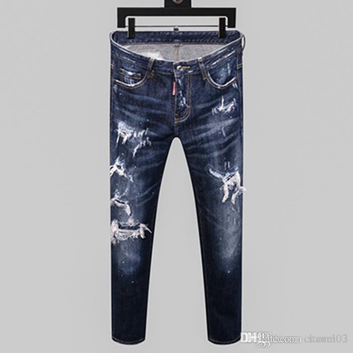 calças de brim 20SS New Moda quente calças de brim furadas desenhador de moda jeans apertado dos homens da tendência dos homens Four Seasons marca calças H056